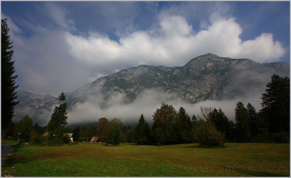 late morning with clouds rising from Lake Bohinj