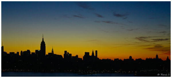 Sunrise over New York City Skyline