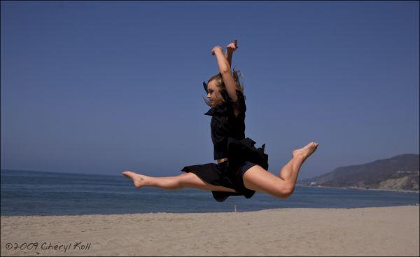 dancing on beach