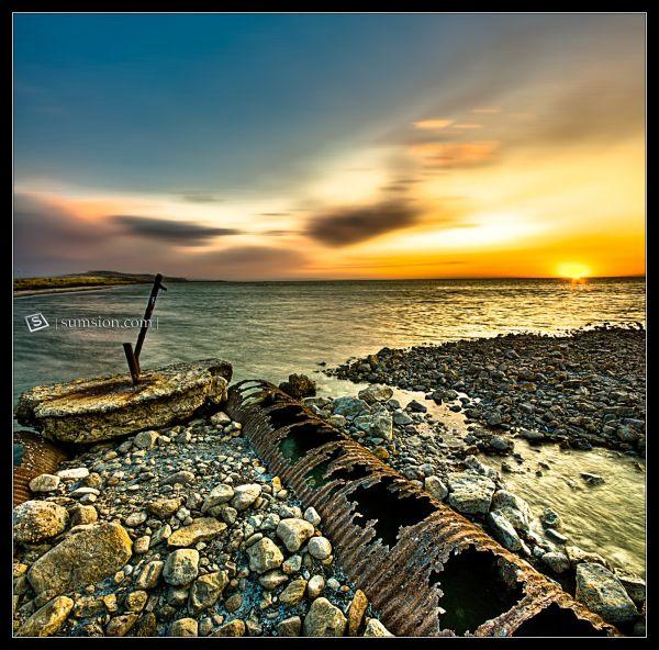 Old stuff on the Antelope Island causeway.