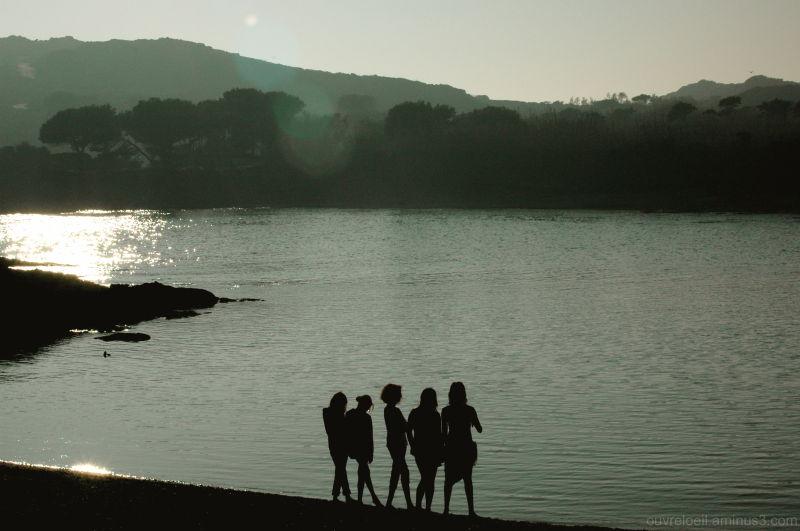 coucher de soleil , mer, silhouettes
