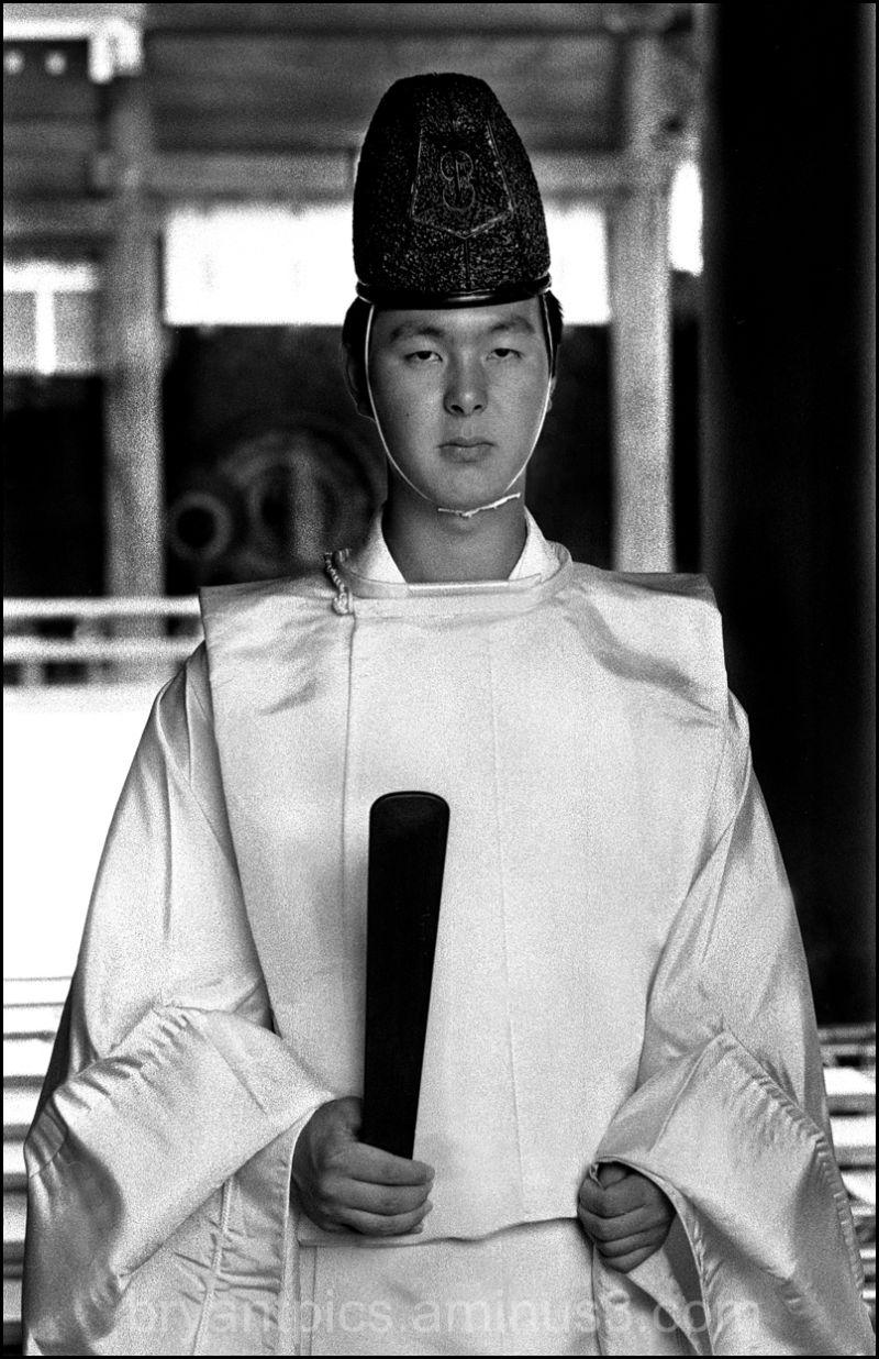 Portrait of Shinto priest in Japan