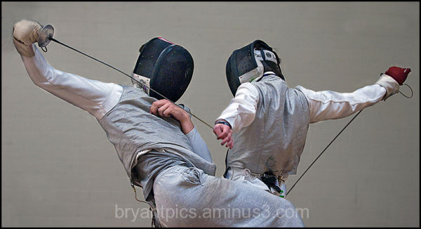Two fencers take a stab at each other