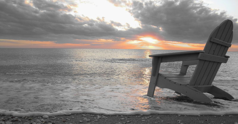 chair, simple, black and white, b&w, sunset, waves