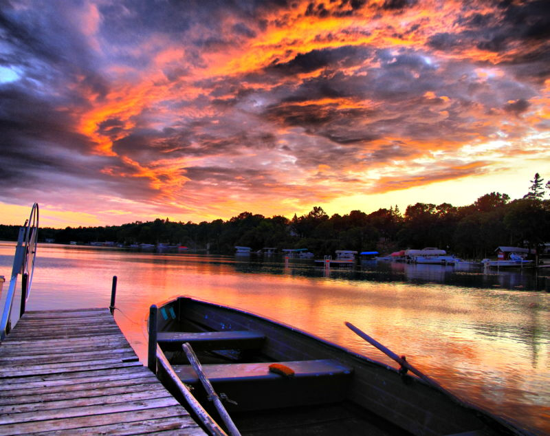 sky, hdr, boat, lake, intense, minnesota