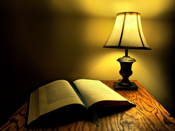 hdr of book and lamp on a desk