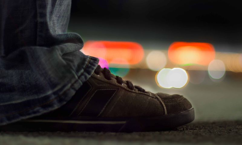 shoe sneaker close up bokeh light background