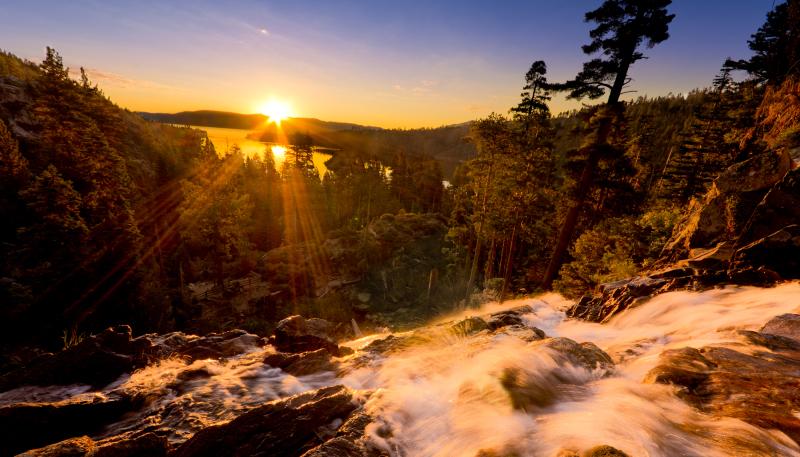 sunrise of eagle falls of lake tahoe over emerald