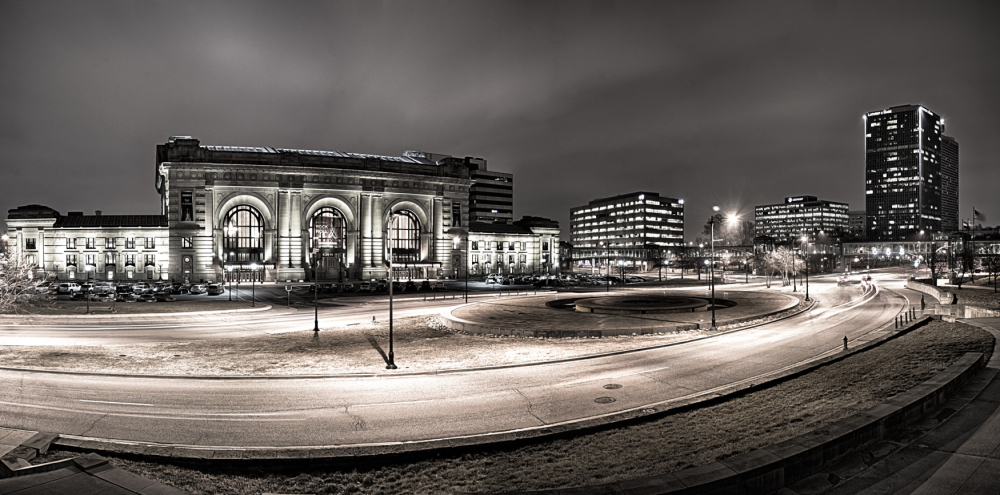 b&w hdr panorama of kansas city skyline at night