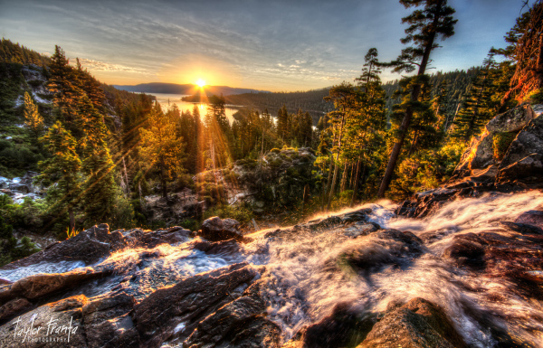 waterfall at sunrise over emerald bay Lake Tahoe