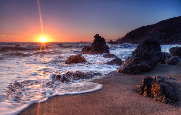 School house beach california ocean at sunset