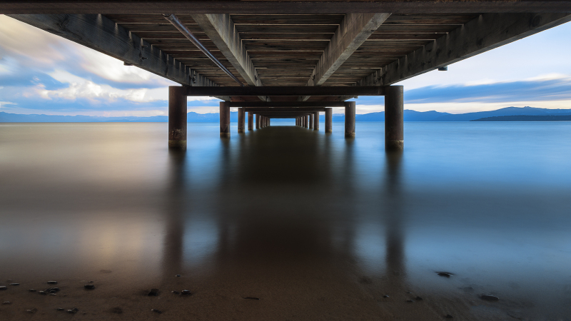 Sunset picture under dock at Kings Beach Tahoe