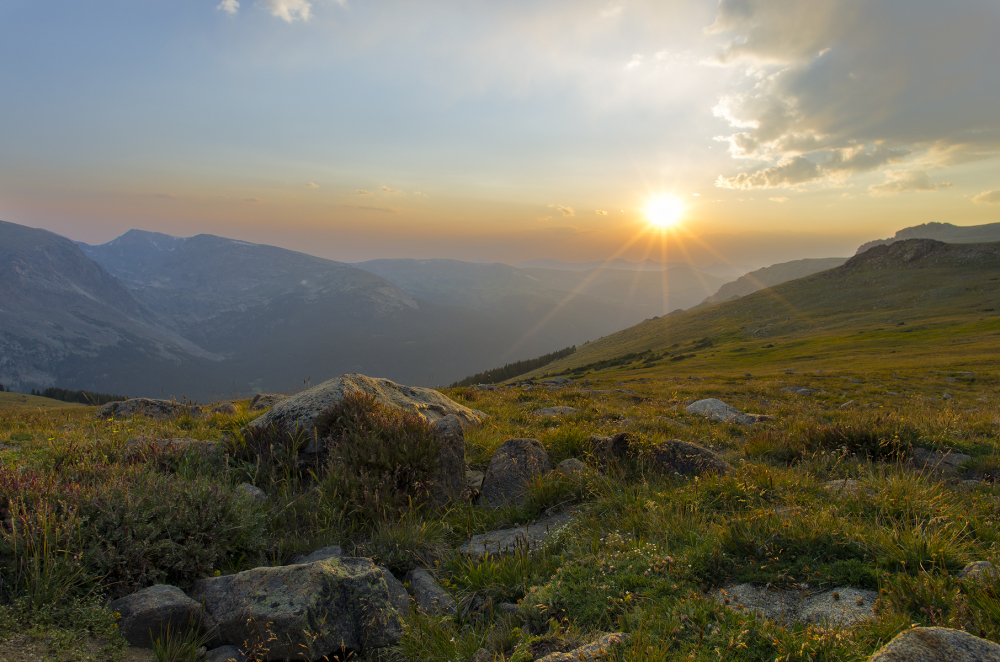 Rocky Mountain National Park at sunset RMNP