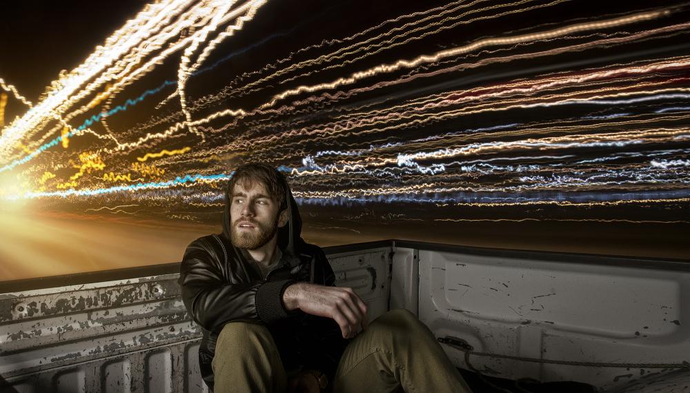 long exposure of Kansas City lights in truck
