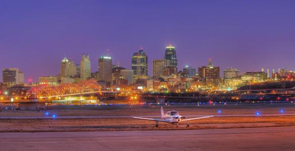skyline Kansas city airport at twilight night