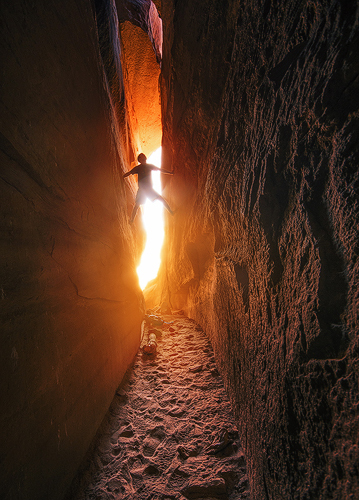 climbing in a crevice in colorado
