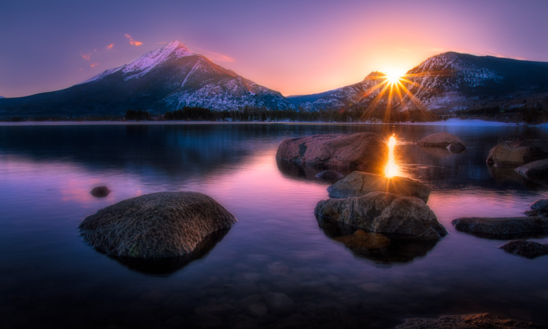 Sunset at lake dillon colorado