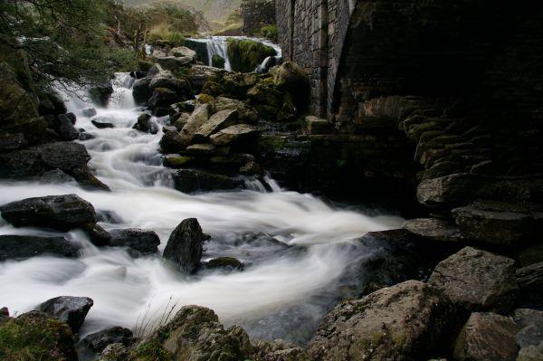 Drystone Bridge under road bridge in North Wales