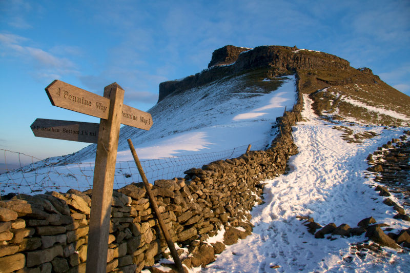 Snow on Pen-y-Ghent from the Pennine way