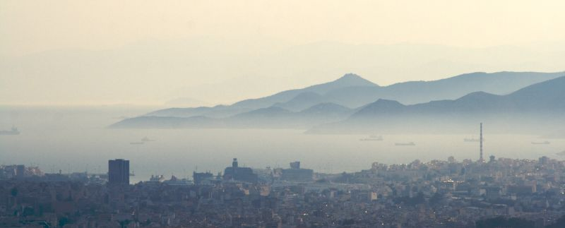 Pireaus port from Lycabettus hill, Athens, Greece.