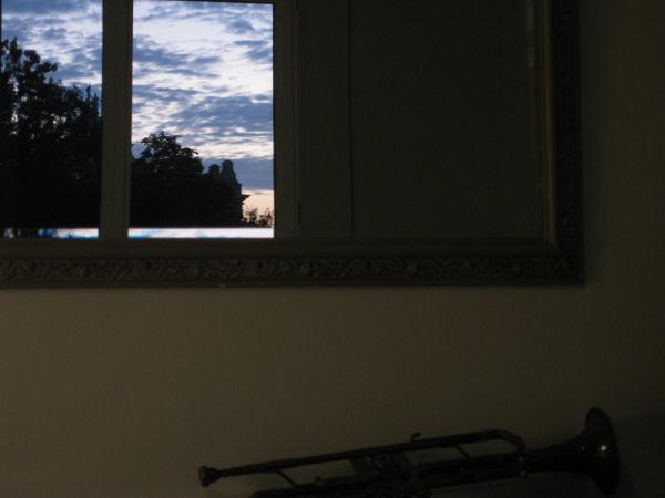 trumpet window blue mirror Magritte