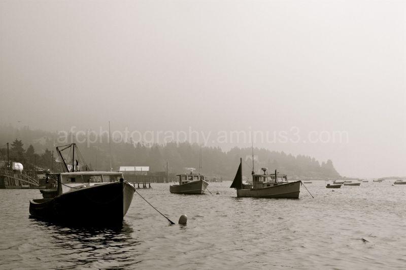 Boats on Stonington bay, early morning.