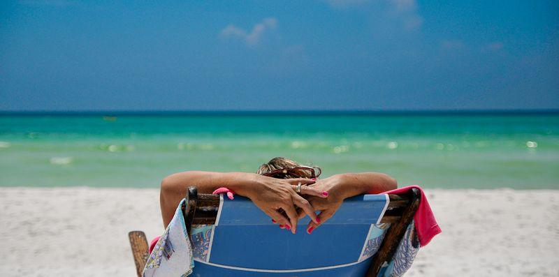 beach scene on Watercolor Beach, Florida