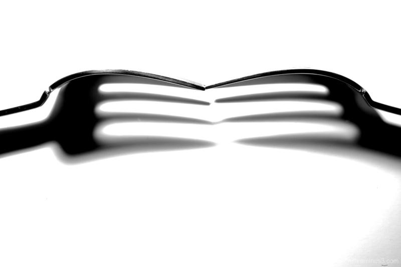 black and white fork
