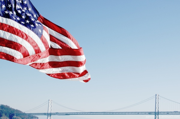 American flag bay bridge