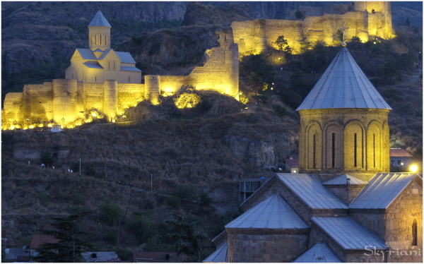 Narikala Fortress and Metekhi Church at dusk