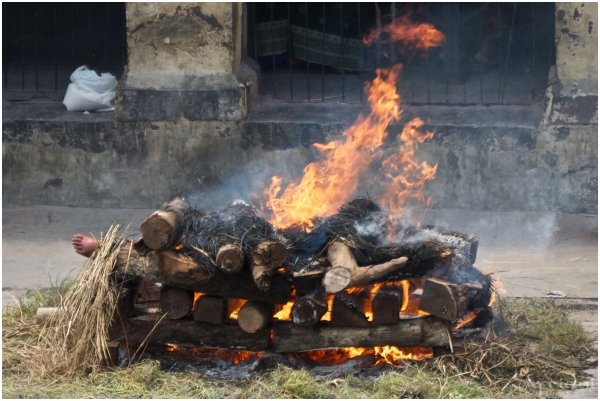 Hindu Cremation VI: Full flame