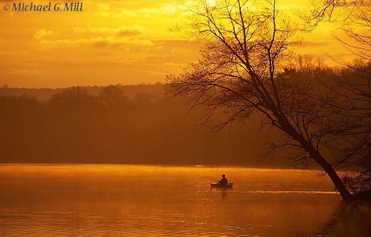 Kayak fisherman on Hopewell Lake