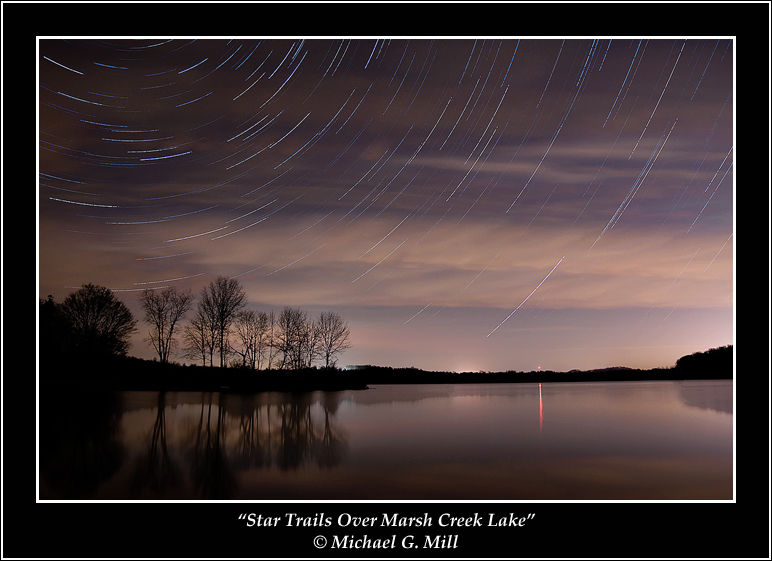 Star Trails Over Marsh Creek Lake