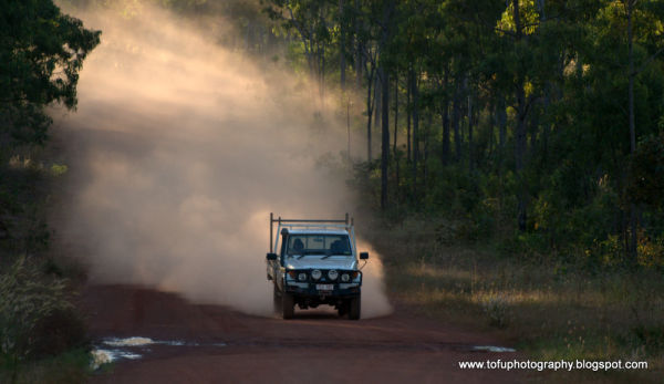 Car dust on a dirt road
