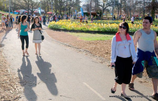 People enjoyng the flowers at Floriade