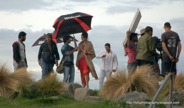Filming a Tamil film at Lake Tekapo, New Zealand