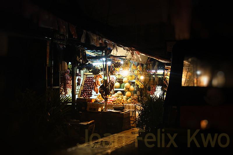 fruit market at night