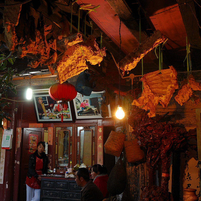 Dried Meat Hung Outside A Restaurant