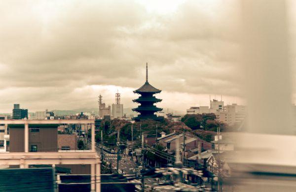 Pagoda while riding the Shinkansen through Kyoto.