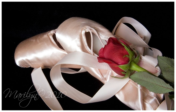pink ballet shoes with a red rose