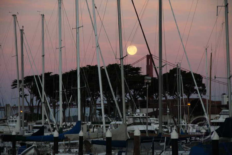 Full Moon, Boats and Bridge