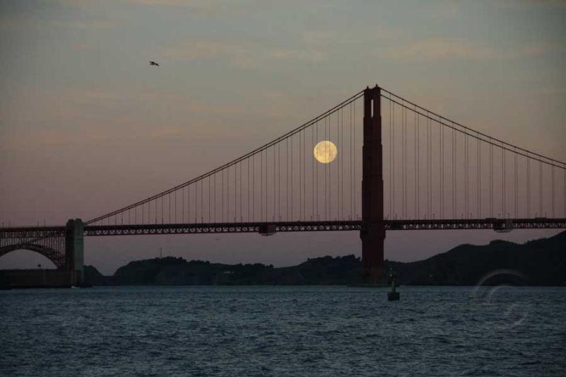 Full Moon and Golden Gate Bridge #2