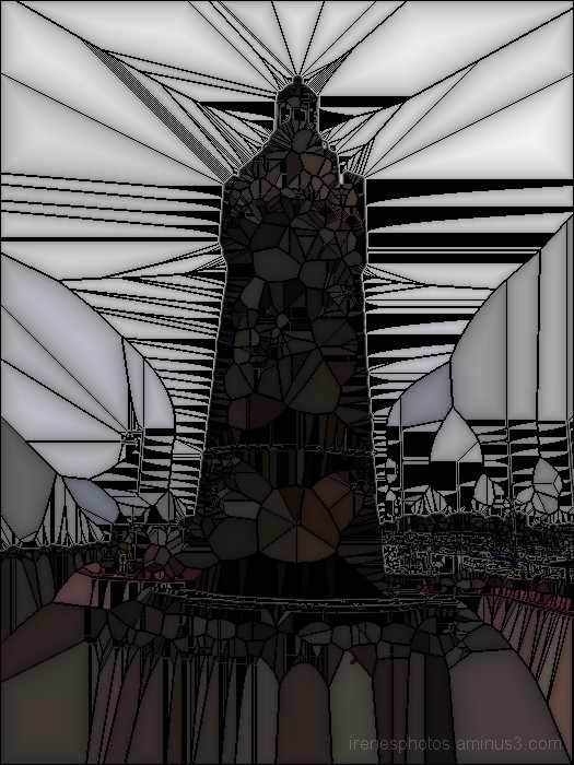 Lighthouse At Marina ( Stained Glass)