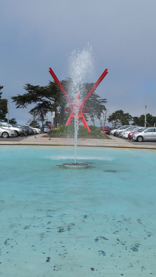 Fountain On in Middle of Drought