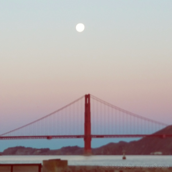 Moon Over Golden Gate Bridge