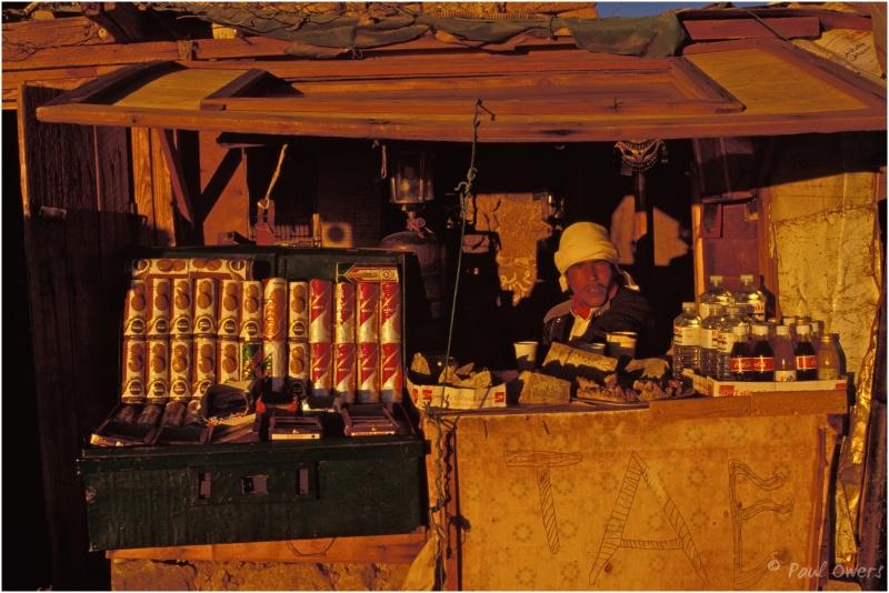 Dawn tea seller at the peak of Mount Sinai, Egypt