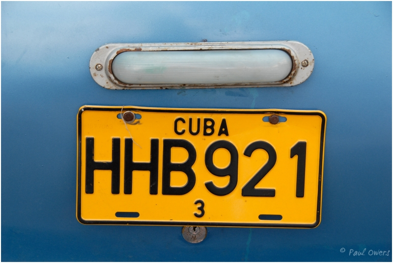 Cuba automobile registration plate