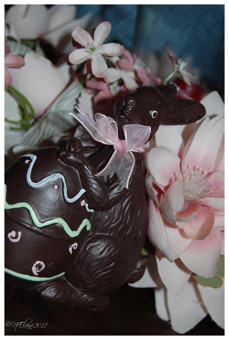 rabbit, flowers
