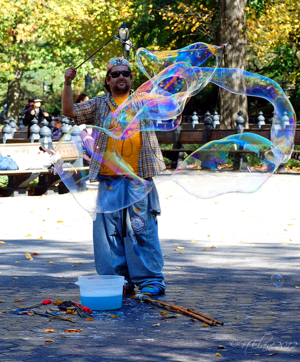 man with bubbles