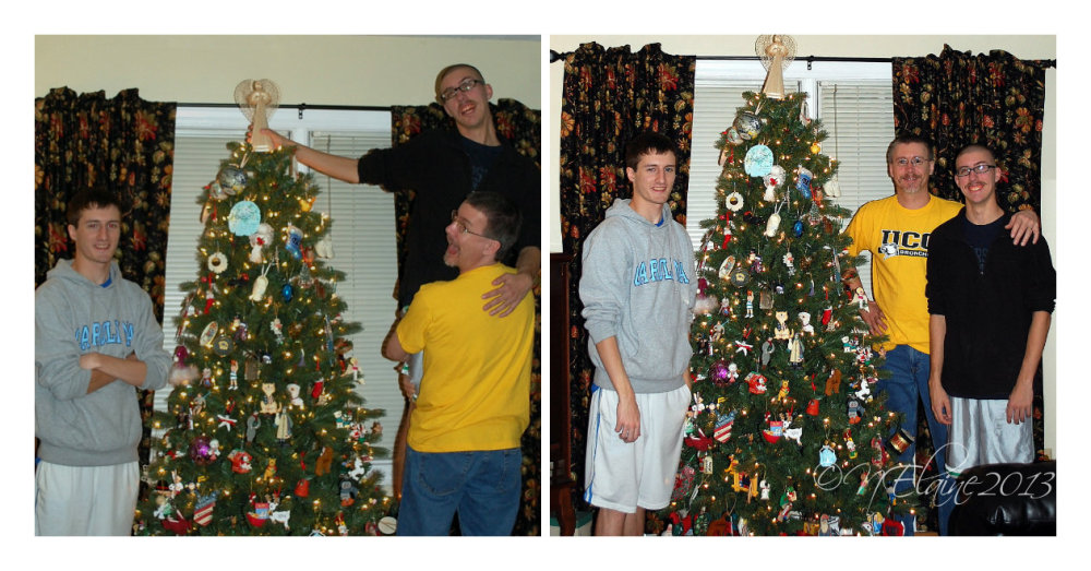men with xmas tree